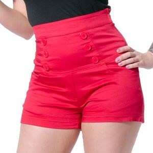 Rock Steady Red High Waist Retro Shorts Size 1